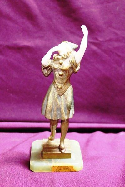 Pierrette Bronze And Ivory Figure By Gerard