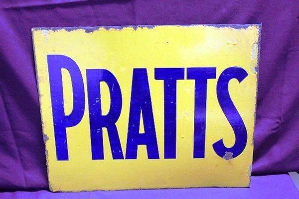Pratts Post Mount Enamel Sign