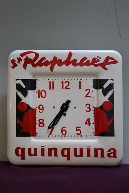 Quinquina ST RAPHAL Clock French Enamel Advertising Sign
