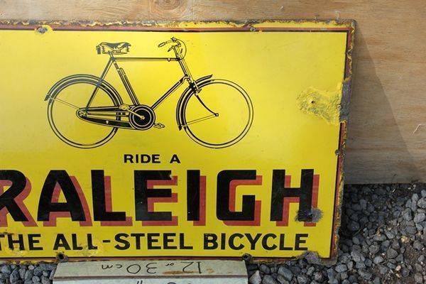 Raliegh Cycles Enamel Sign