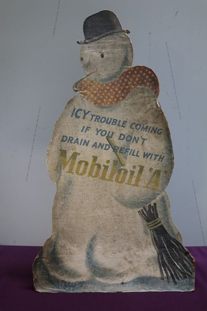 Rare And Early Mobiloil andquotAandquot Snowman ADV Showcard