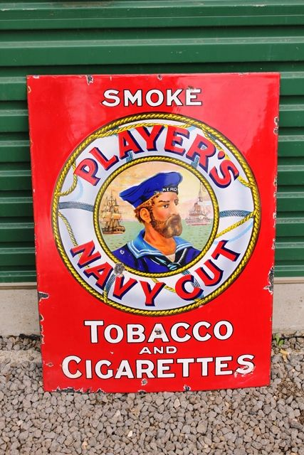 Rare Red Players Navy Cut Enamel Advertising Sign