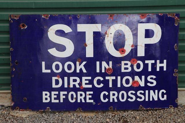 Road Enamel Sign andquotStop Look in Both Directions Before Crossingandquot