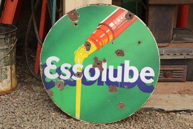 Round Esolube Double Sided Enamel Advertising Sign