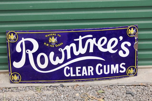 Rowntrees Clear Gums Enamel Advertising Sign