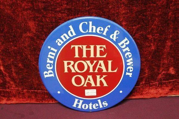Royal Oak Hotels Brewery Enamel Advertising Sign