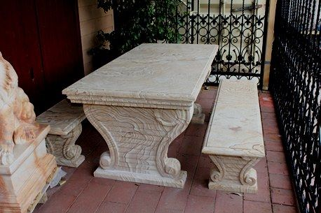 Sand Stone Garden Table with 2 Matching Benches