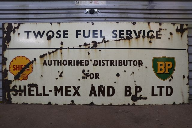 Shell And BP Enamel Advertising Sign