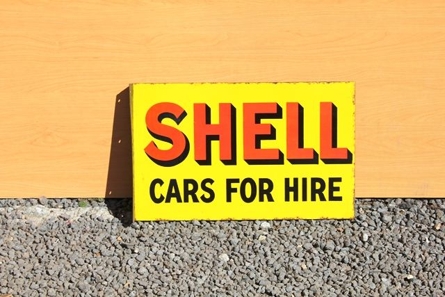 Shell Cars For Hire Enamel Advertising Sign