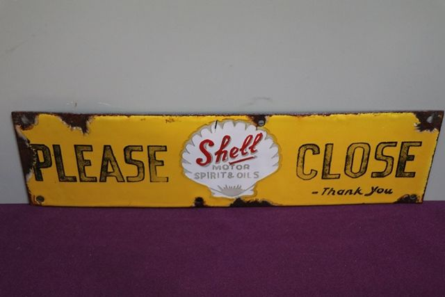 Shell Motor Spirit and Oil andquotPlease Closeandquot Enamel Sign