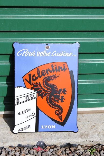 Small Near Mint Valentini Stoves Pictorial Enamel Sign