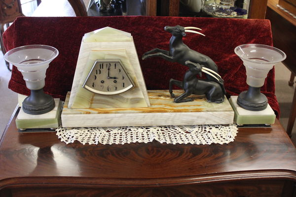 Spelter And Marble Clock Set With Glass Urns