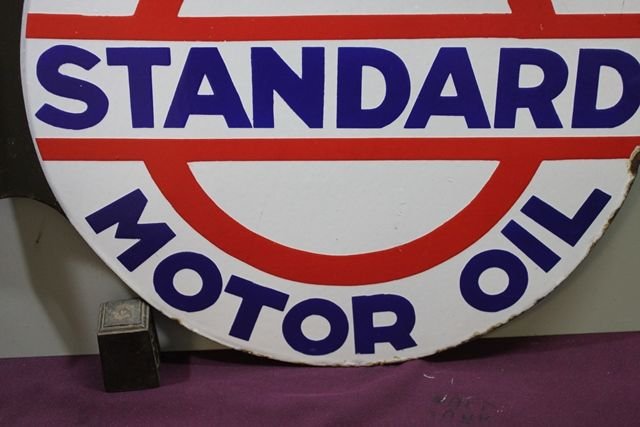 Standard Motor Oil Double Sided Enamel Sign