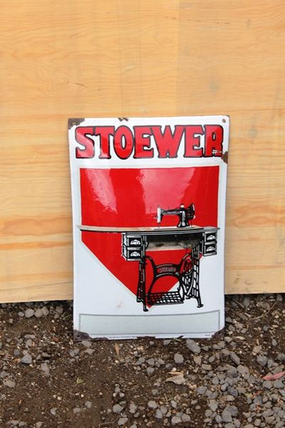 Stower Sewing Machine Pictorial Enamel Sign