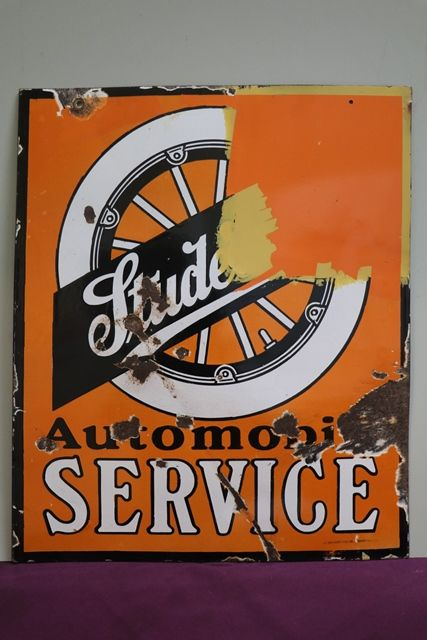 Studebaker Automobile Service Double Sided Enamel Advertising Sign