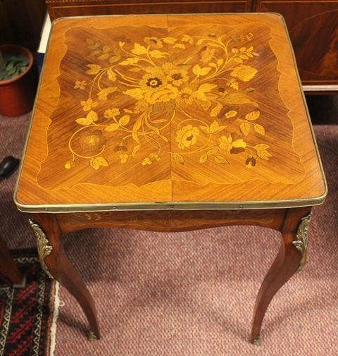 Stunning 19th Century French Marquetry Side Table With Metal Mounts C1890