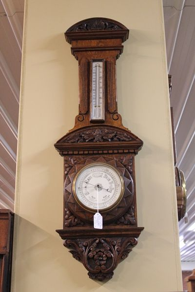 Stunning Late 19th Century Carved Wall Barometer C1895