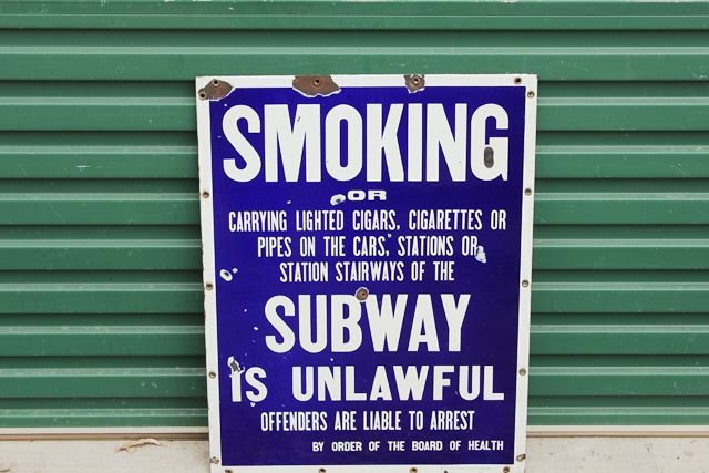Subway Warning Enamel Advertising sign