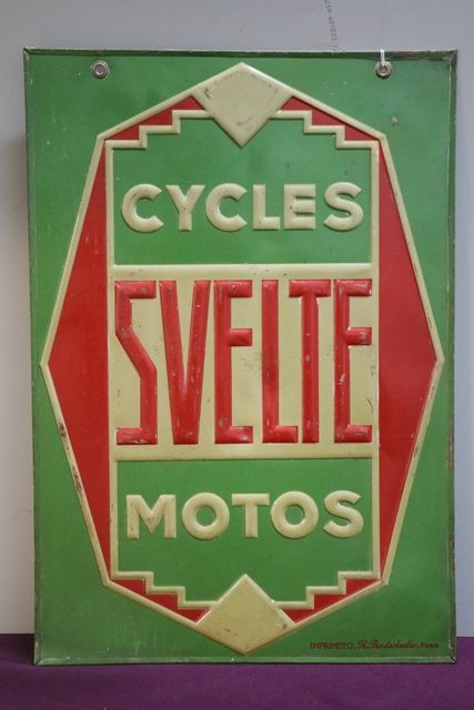 Svelte Cycles Embossed Tin Double Sign