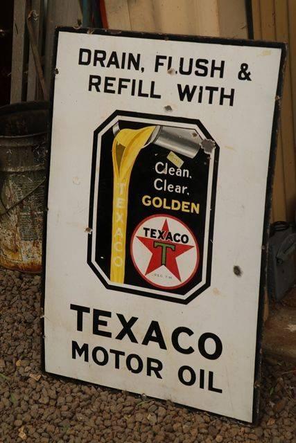 Texaco Motor Oil Enamel Advertising Sign