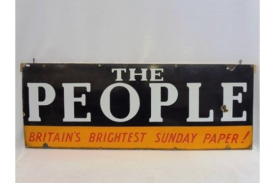 The Peopleand39  Britainand39s Brightest Sunday Paper Enamel Sign