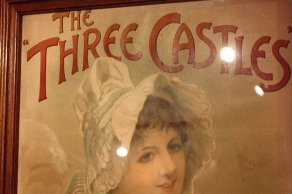 Three Castles Cigs Framed Show Card