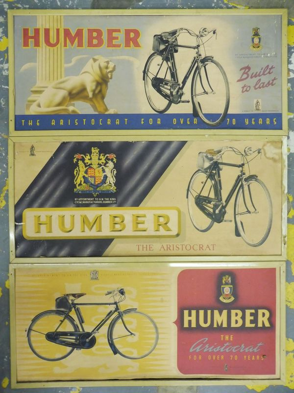 Three Humber Pictorial Aristocrat Bicycle Signs