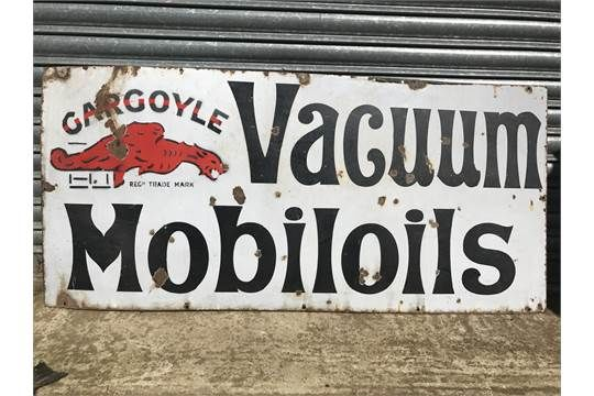 Vacuum Gargoyle Mobiloils Enamel Sign