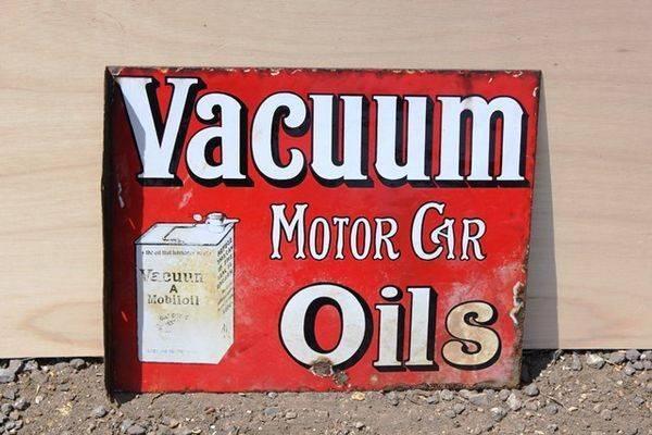 Vacuum Motor Oils Enamel Post Mount Sign