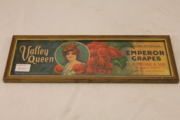 Valley Queen Emperor Grapes Framed Ad Card