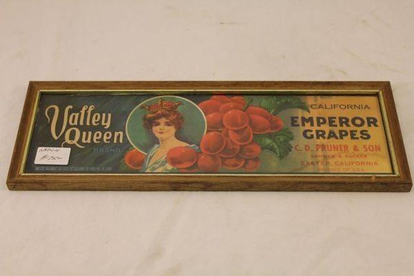 Valley Queen Emperor Grapes Framed Ad Card