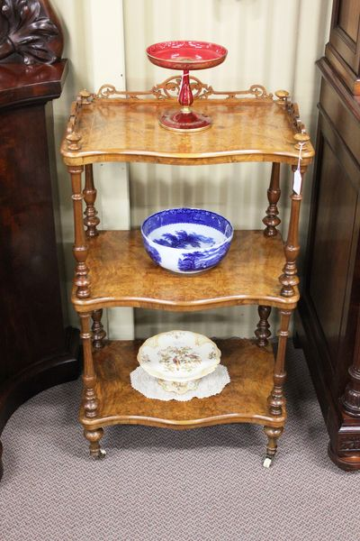 Victorian Burr Walnut Inlaid 3 Tier Wot Not English C1870