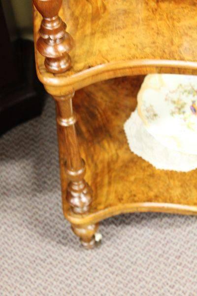 Victorian Burr Walnut Inlaid 3 Tier Wot Not English C1870