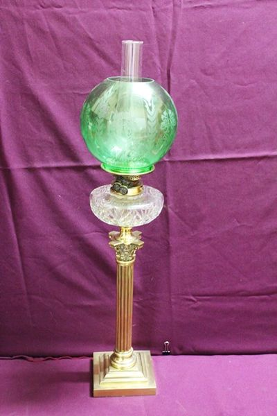 Victorian Oil Lamp With Cut Glass Font + Original Shade