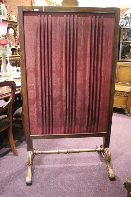 Victorian Rosewood Tapestry Fire Screen  English  C1840