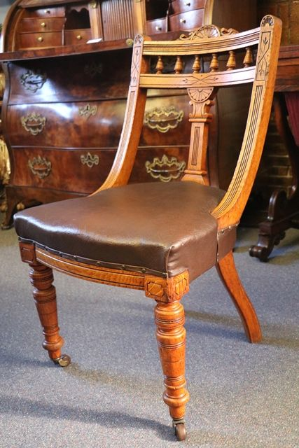 Victorian Set of 12 Oak Dining Chairs