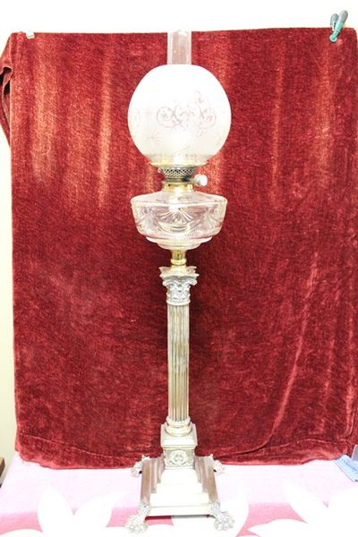 Victorian Silver Plated Banquet Oil Lamp