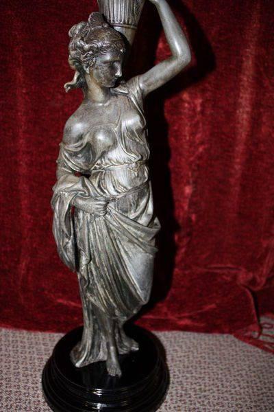 Victorian Spelter Figure Banquet Lamp