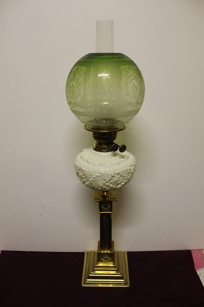 Victorian Table Oil Lamp W Original Shade + Font And Brass Column C1900