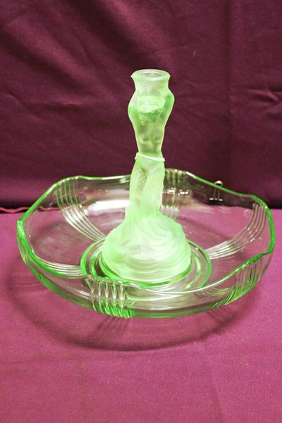Victorian Uranium Green Glass Bowl And Mermaid Figure