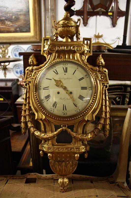 Vintage Gilt Wood Framed Swedish Wall Cartel Clock