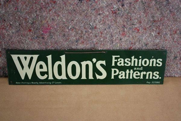 Weldons Fashions Tin Sign