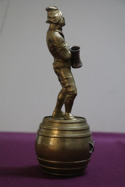 Well Cast Brass Triple X Pub Figure Standing On a Barrel