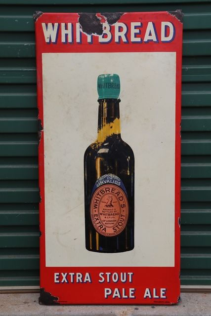 Whitbreadand39s Extra Stout Pale Ale Enamel Advertising Pub Sign