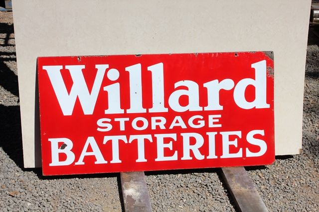 Willards Storage Batteries Double Sided Enamel Advertising Sign