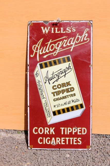 Wills Autograph Pictorial Enamel Advertising Sign