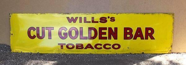 Wills Cut Golden Bar Strip Enamel Sign