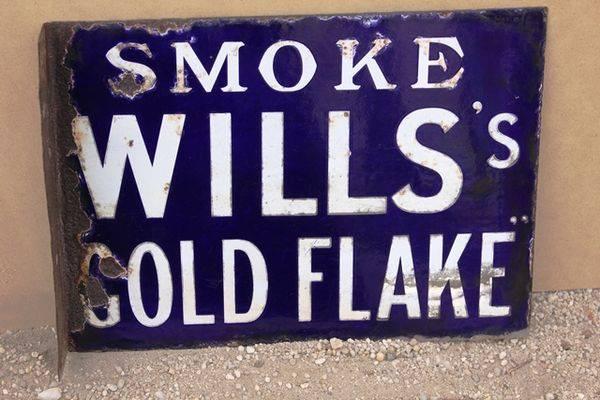 Wills Gold Flake Cigarettes Post Mount Enamel Sign