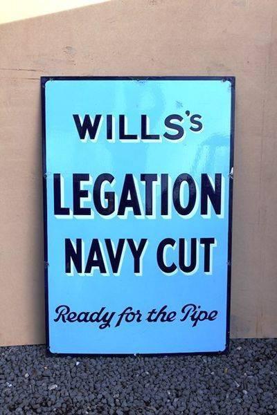 Wills Legation Navy Cut Enamel Sign