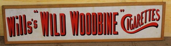 Wills Wild Woodbine Cigarettes Enamel Sign